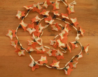 peach needle lace flower, traditional turkish oya, peach white, 40 pieces