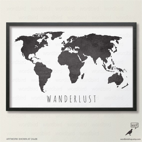 Black And White Map Large World Map Print Wanderlust Map