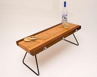 Coffee Table, reclaimed wooden beams, steel legs