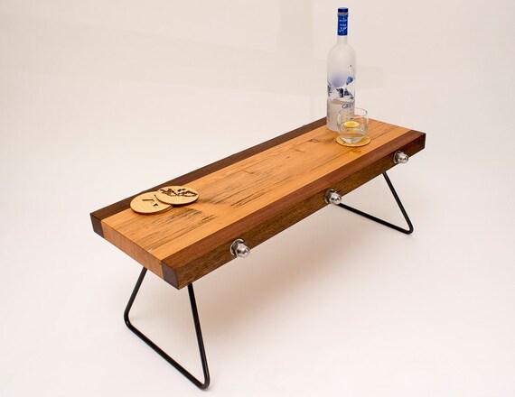 Coffee table reclaimed wooden beams steel legs for Wood beam coffee table