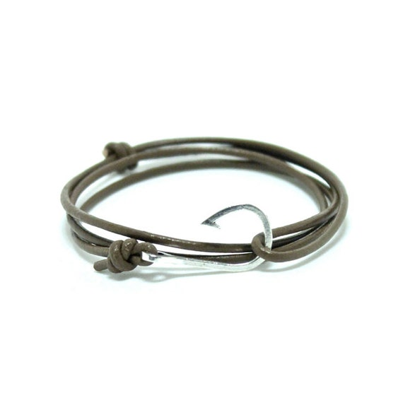 Mini leather fish hook bracelet leather by portuniontrading for Mens fish hook bracelet