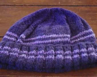 Knitted Homespun Hand Dyed Woollen Beanie-  Handmade- Made In Australia