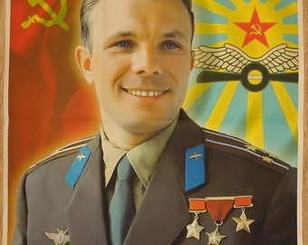 Russian Soviet Cosmonaut Astronaut Yuri Gagarin portray poster
