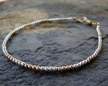 Tiny silver and gold bracelet, beaded silver bracelet, beaded gold bracelet, dainty stacking bracelet, woman's  bracelet, gifts for her