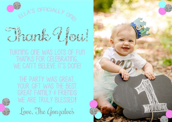 1st birthday thank you cards