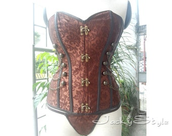 Steampunk Corset Bustiers With Chain Brown Gothic Bustier Steel Boned Corset Top Victorian Inspired Overbust Corset