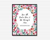 Shakespeare Quote - Printable Wisdom Art  - Floral on White - Printable Wall Art Instant Download