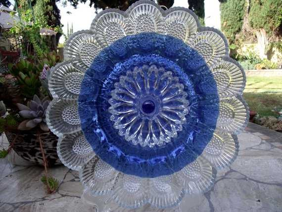 Items similar to vintage glass garden art flower home for Recycled glass garden ornaments