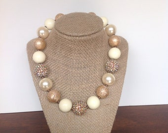 Gold and ivory sparkly chunky bubblegum necklace