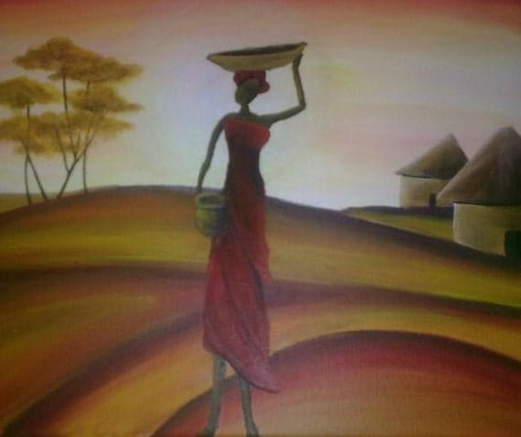 acrylic painting of african woman carrying a basket on her. Black Bedroom Furniture Sets. Home Design Ideas