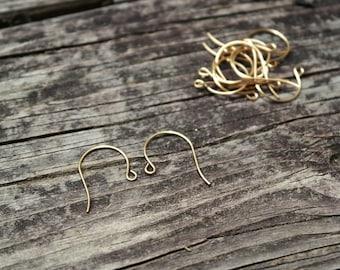 Raw Brass Earwire Earring Hooks