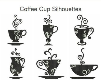 Coffee Cup Silhouettes Machine Embroidery Designs Instant Download 4x4 hoop 10 designs