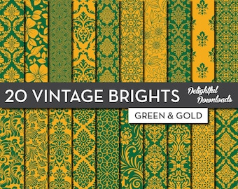 "Green and Gold Floral Digital Paper ""20 VINTAGE BRIGHTS - Green & Gold""  20 gold and green floral damask digital papers"