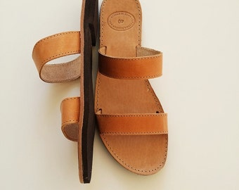 Men  Leather Sandals-Open Toe Greek Brown Leather Sandals - Men Greek Sandals