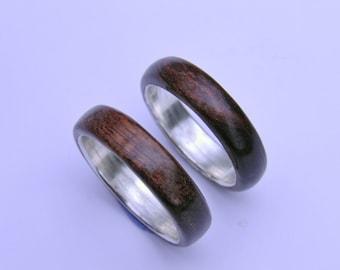 Mens wedding band, Wood ring, wood wedding band,wooden ring, Mens wood ring, Mens wood wedding band, Mens Silver ring, Wood wedding band