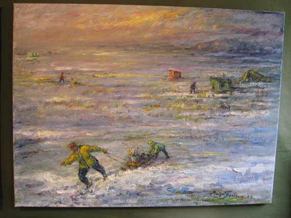 Ice fishing saratoga lake ny original oil on canvas by maiga for Saratoga lake fishing