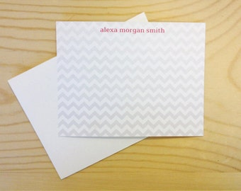 Personalized Custom Stationery Flat Notecards - Chevron Stationary - Set of 25