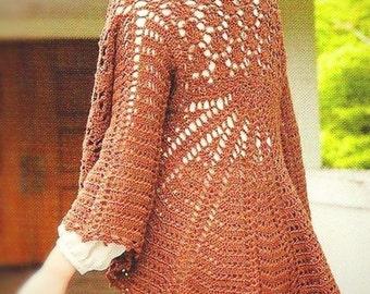 PATTERN crochet  scarf poncho cape cardigan shirt women bolero autumn spring