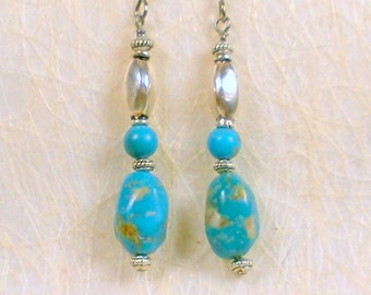 Genuine turquoise earrings, hypoallergenic titanium earwires, genuine turquoise beads, genuine silver beads, southwestern chic, upscale gift