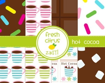 Hot Cocoa Digital Paper for Scrapbooking Invitations Cards and Party Decor