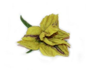 Felted Flower Brooch Iris Yellow-Green Spring merino wool art