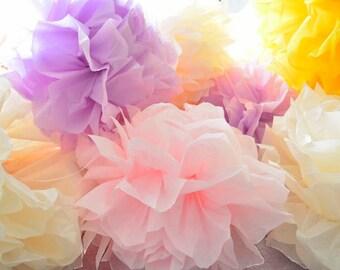 5 paper flower pom poms set --spring pastels  --wedding / valentines day/ nursary/ kids room decoration
