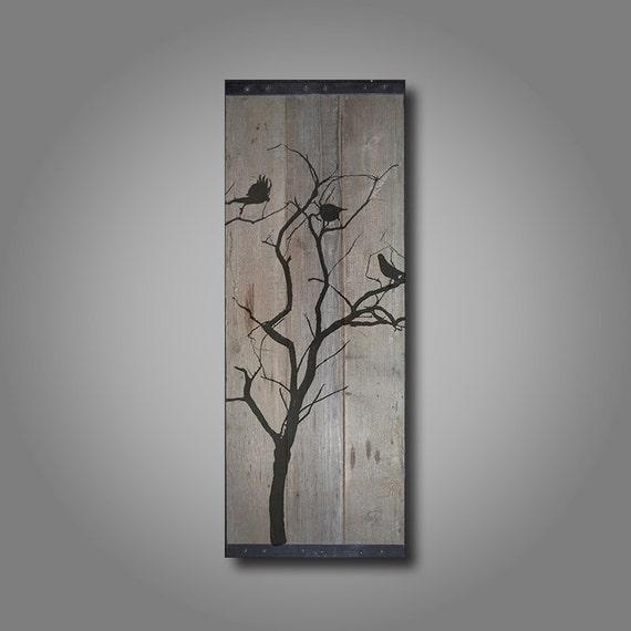 Reclaimed Barn Wood Wall Art Birds In Tree