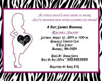 Diva Baby Shower Invitations personalized with ultrasound picture!