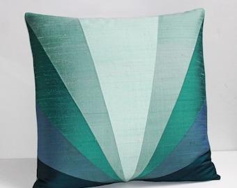 "Sunburst Silk Throw Pillow - Aqua 20"" x 20"""