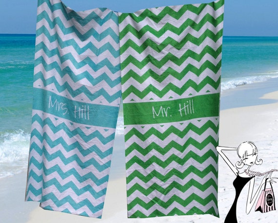 Wedding Gift Towels: Honeymoon Beach Towel Personalized His And Hers By