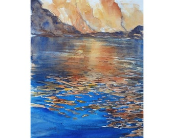 Watercolour painting. Impressionist  painting. Fine art  painting, Summer painting.  Blue and gold . reflections.