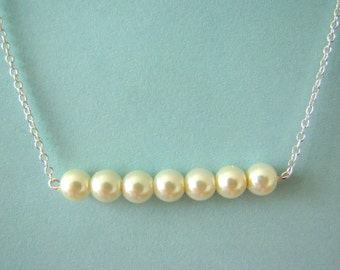 Pearl Bar Necklace, Bridal Jewelry