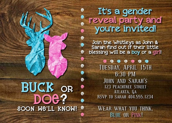 Buck Or Doe Gender Reveal Party Invitation By