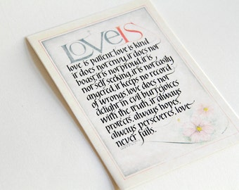 Wedding Greeting Card: 1 Corinthians 13 'Love Is Patient', Love Card, Anniversary Card, Husband Card, Wife Card, Scripture Calligraphy