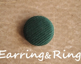 green corduroy fabric covered button earrings, fabric covered button clip on earrings, fabric covered button ring