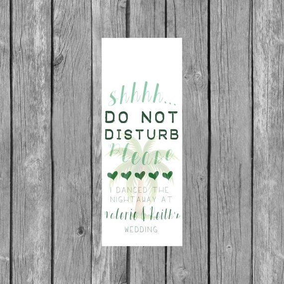 Destination Wedding Welcome Bag--Door Hanger PALM TREE