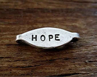 Stamped, Sterling Silver, Handmade, HOPE Bracelet Link (one) (C) (A)