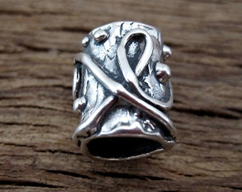 Large Textured Artisan Sterling Silver Bead and Slider (one) (A)