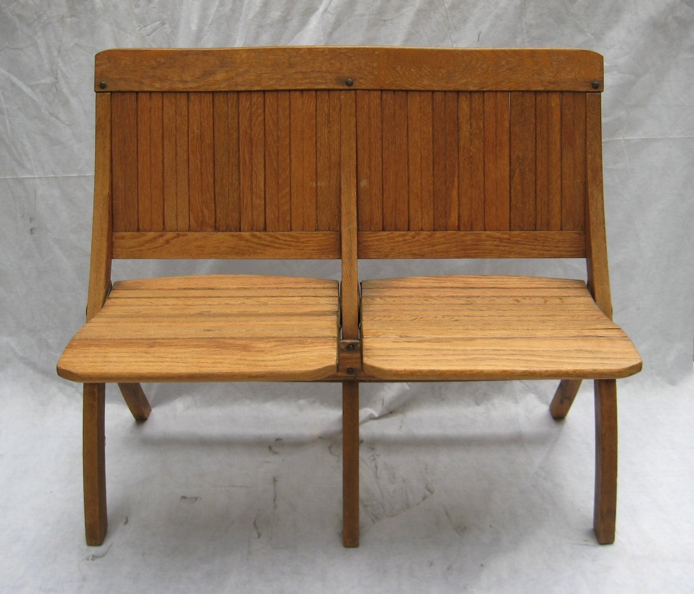Vintage Wood Slat Folding Two Seat Bench Or Pew By 9livesdecor