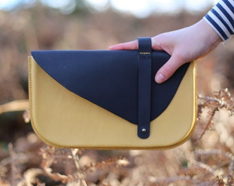 Genuine Italian Thick Leather, Stylish Ladies Clutch, Yellow and Grey, Hand stitched, Wet Moulded