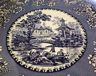Vintage Daher Decorated Ware Asian Theme Blue and White Metal Tray