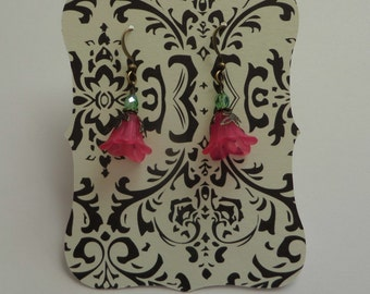 Off White and Black Damask Earring Display Cards