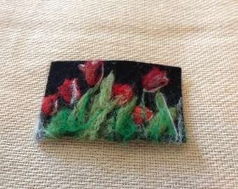 Unique needle felted handmade 'Tulips at night' brooch. Lovely Gift