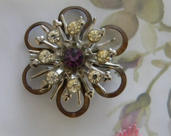 Pretty Purple Silver Rhinestone Vintage Brooch