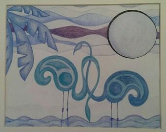 Blue Flamingos - Original Drawing