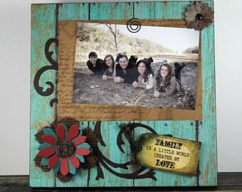 Handmade Primitive Scrapbook Sign Photo Frame Quot I Love You