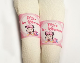 Baby Minnie 1st birthday Disney napkin rings - printable - digital PDF file.