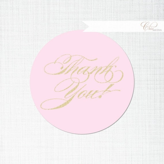DIY Thank You Favor Favour Tags Labels Stickers Gold Pink Glitter ...