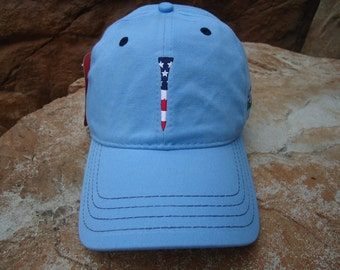 Men's Golf Hat Carolina Blue with Embroidered USA Flag Tee Design | Great Golf Gift Item