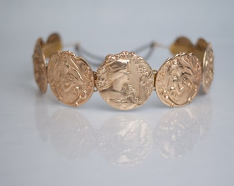 DOLCE: Dolce and Gabbana Style Gold Coin / Medallion Headband